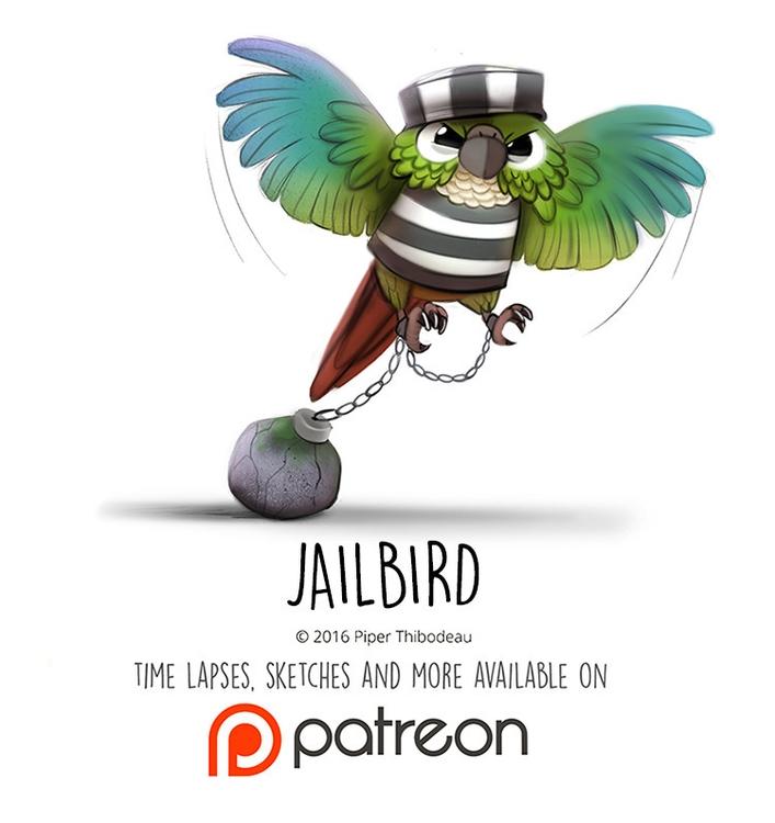 Daily Paint 1461. Jailbird - piperthibodeau | ello
