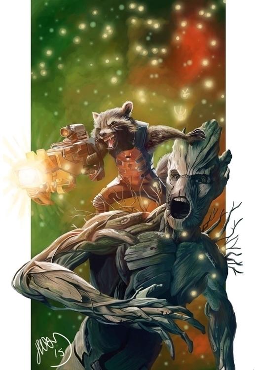 Digital painting Rocket Raccoon - hellonsy | ello