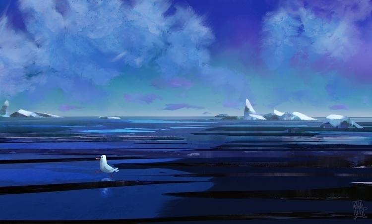 travelling, sea, sky - illustration - gagatka   ello