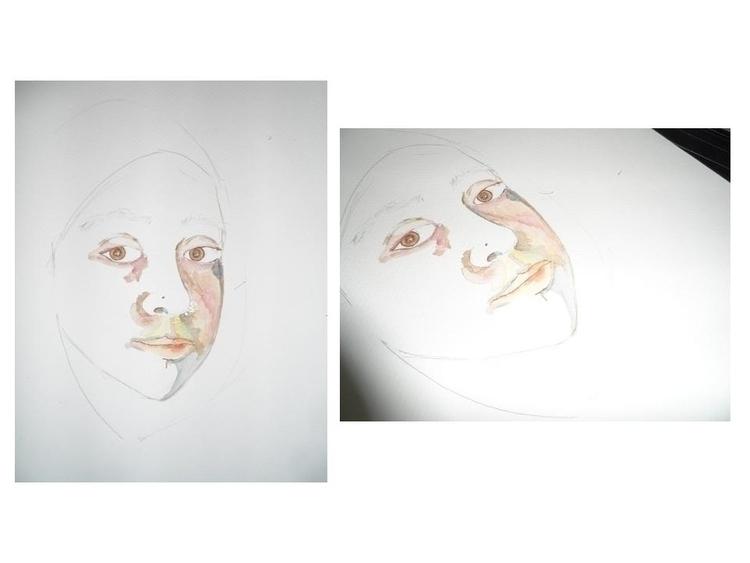 watercolor, canson, selfportrait - randa-6383 | ello
