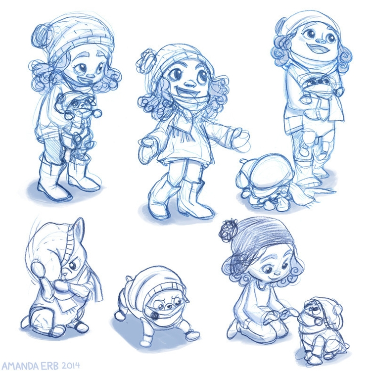 winter wear - girl dog - sketches - amandaerb | ello