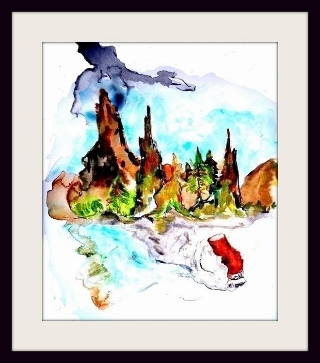 painting, watercolor, cigarette - randa-6383 | ello