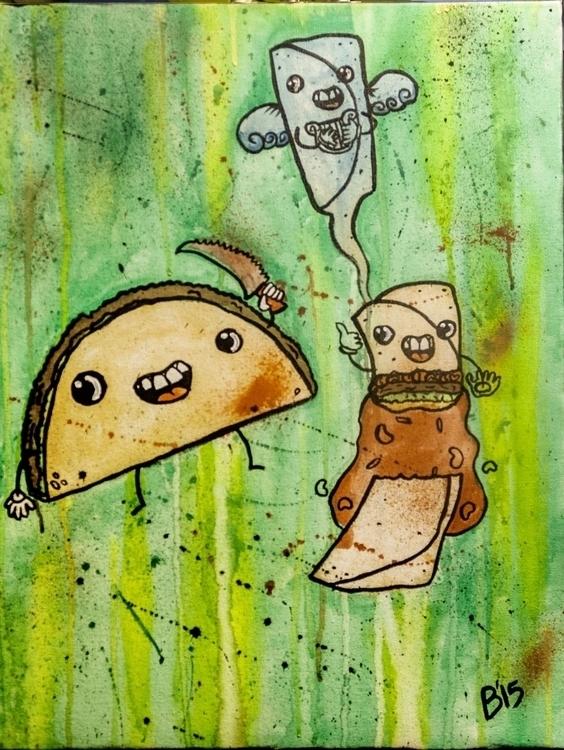 Burritocide Watercolor ink canv - brieana | ello