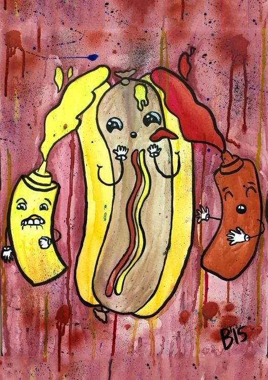 Hotdog Bukkake Watercolor ink c - brieana | ello