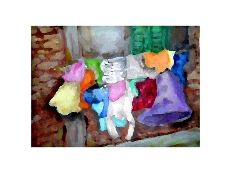 laundry hanging - painting, watercolor - randa-6383 | ello