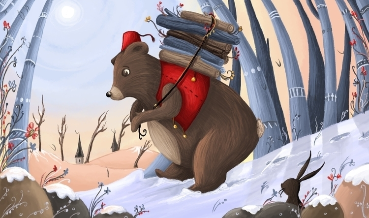 Bear collecting fire wood - winter - illustratelucy | ello