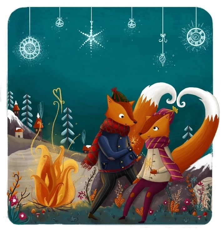 Bonfire Foxes - fox, foxes, orange - illustratelucy | ello