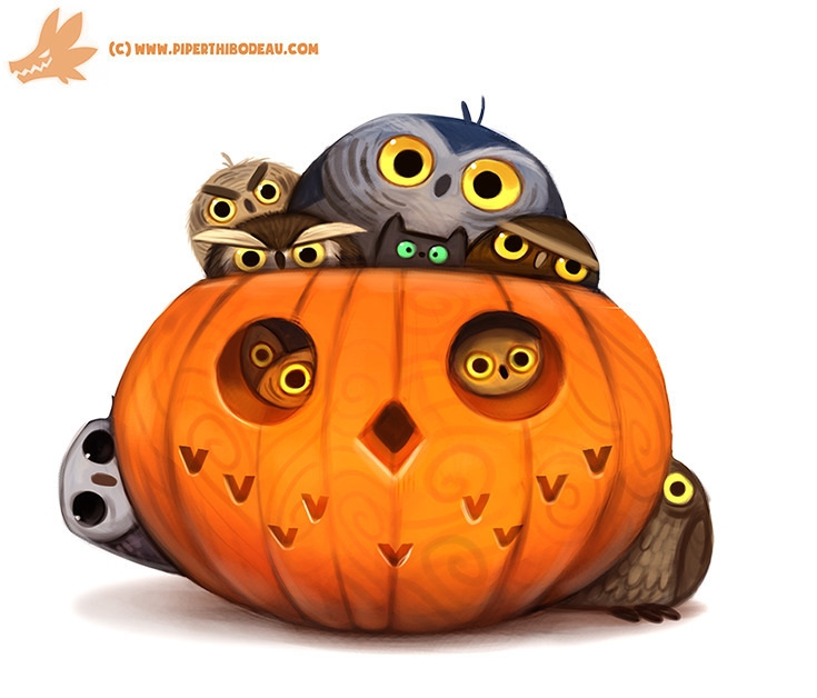Daily Paint Happy 'Owlween - 1075. - piperthibodeau | ello