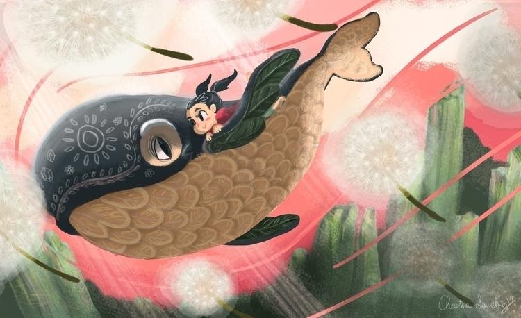 Whimsical Whale Tale 2/2 - illustration - unicorndoodles   ello