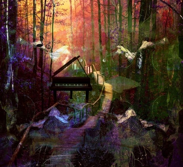 Dawn awakening - digitalart, forest - dizwhi | ello