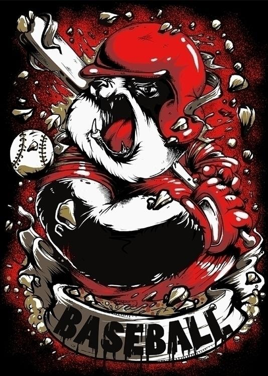 Baseball Panda - illustration, digitalart - swodshit | ello