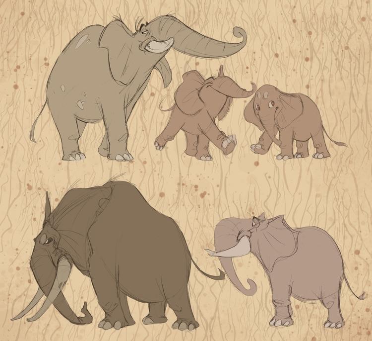 elephants - characterdesign, elephant - raccoon-7080 | ello