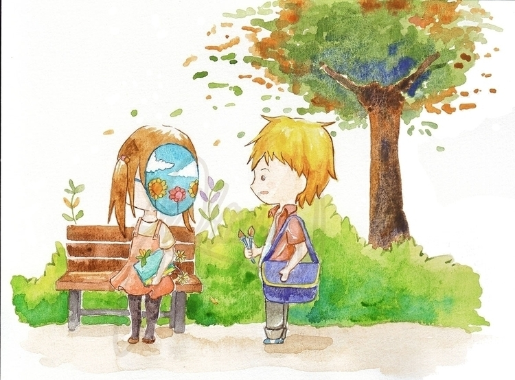 Masked Girl Painter Boy (1 - illustration - resha04 | ello