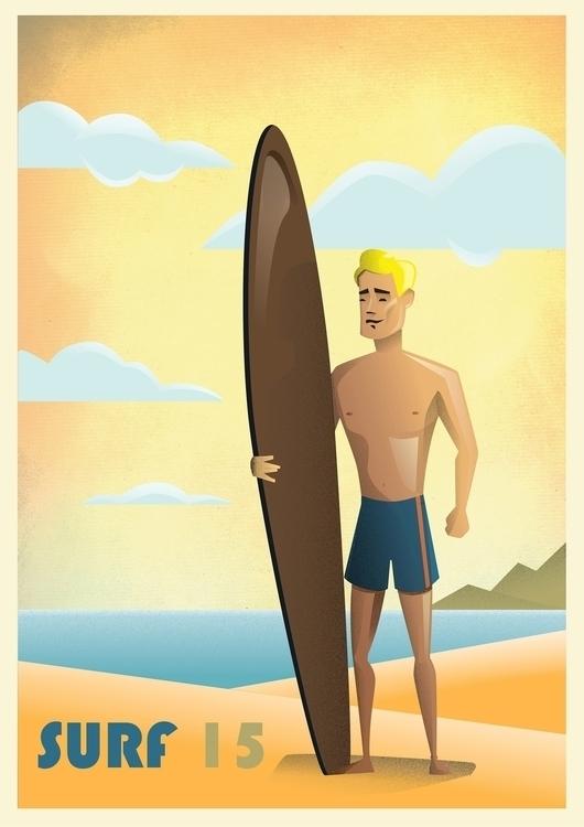 Surf 15 poster illustration - retro - emetzger | ello