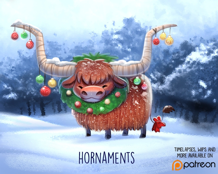 Daily Paint 1435. Hornaments - piperthibodeau | ello