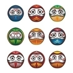 Daruma Warriors - illustration, characterdesign - vector1st | ello
