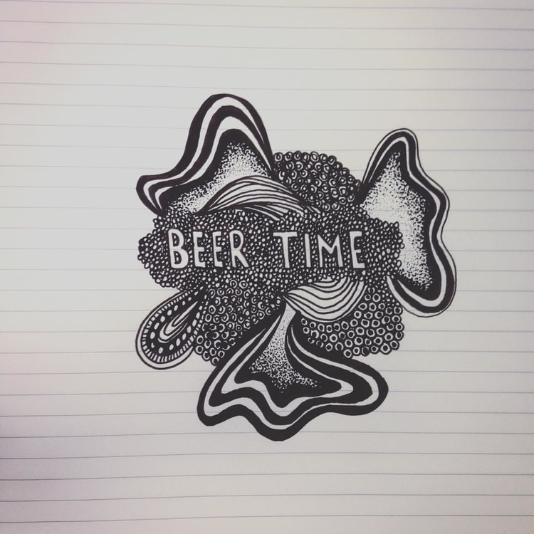 Beer Time - illustration, doodle - byeblackbirdy | ello