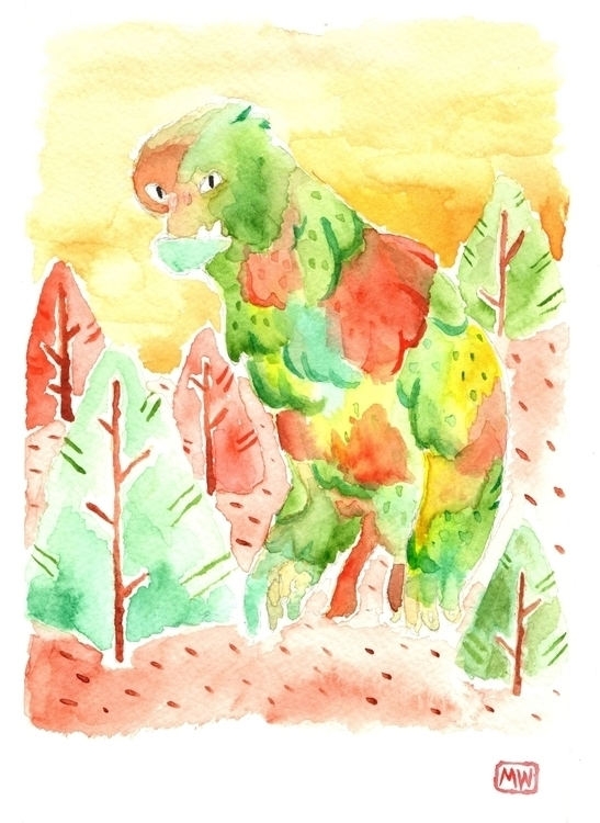 monster, creature, nature, watercolor - mwentworth | ello