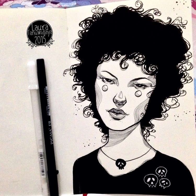 Curly gal INKTOBER 2015 ^__^ - illustration - laura_t-4759 | ello