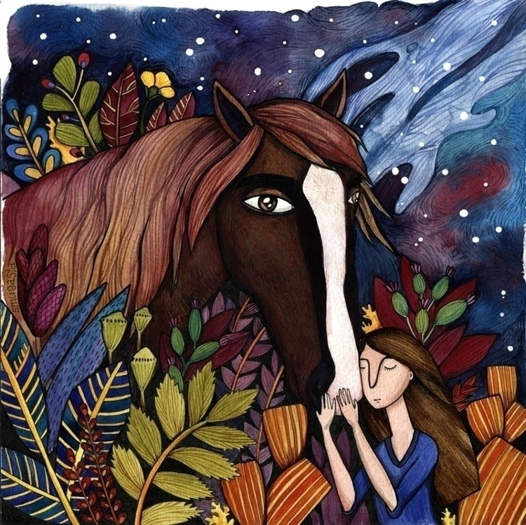 drawing, watercolor, horse, illustration - smugasta | ello