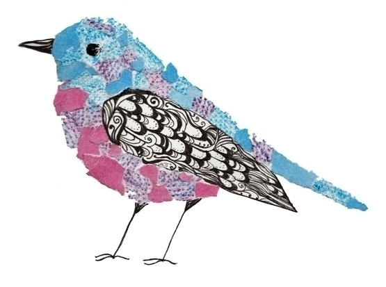 Mixed media bird - pattern, mixedmedia - laurabuckland | ello