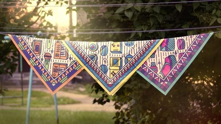 scarf design - squarescarf, colorful - laurita_potapova | ello