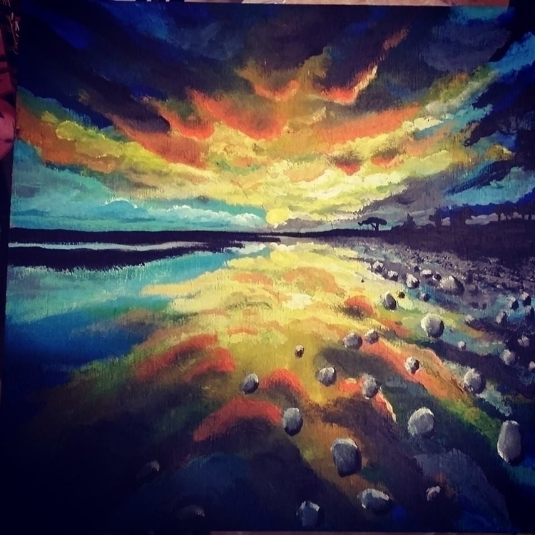 summer reflection - painting, environment - lizzywhothefunkc | ello