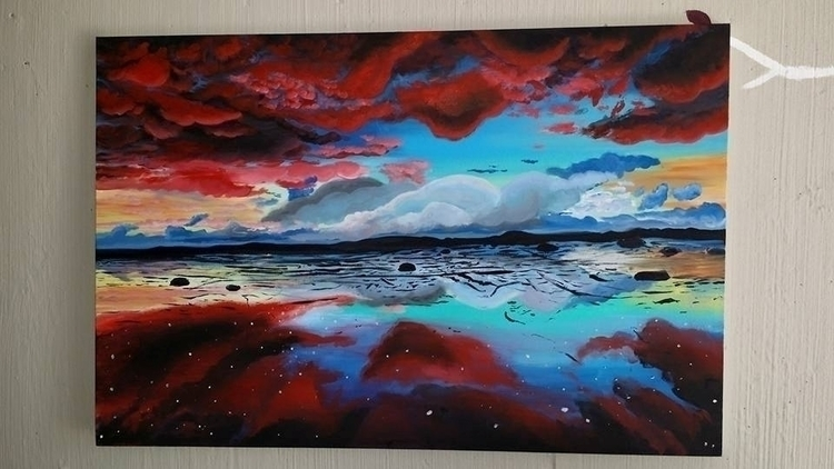 Red clouds - environment, painting - lizzywhothefunkc | ello