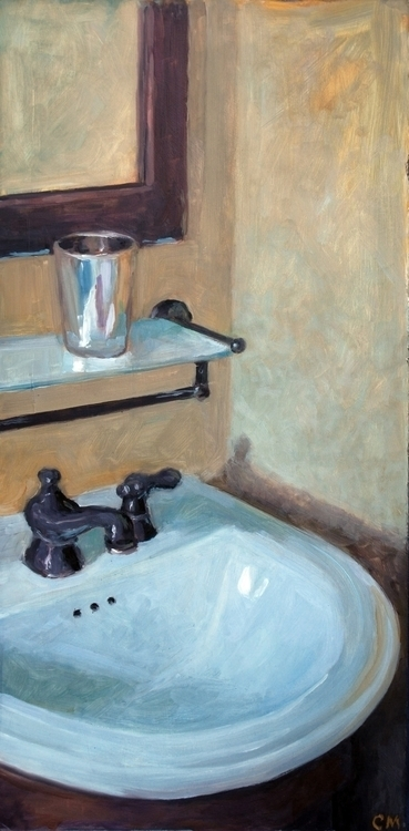 Bathroom Sink 12x24'' oil wood - camm182 | ello