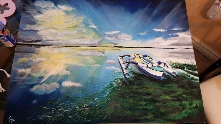calm - painting, environment, nature - lizzywhothefunkc | ello