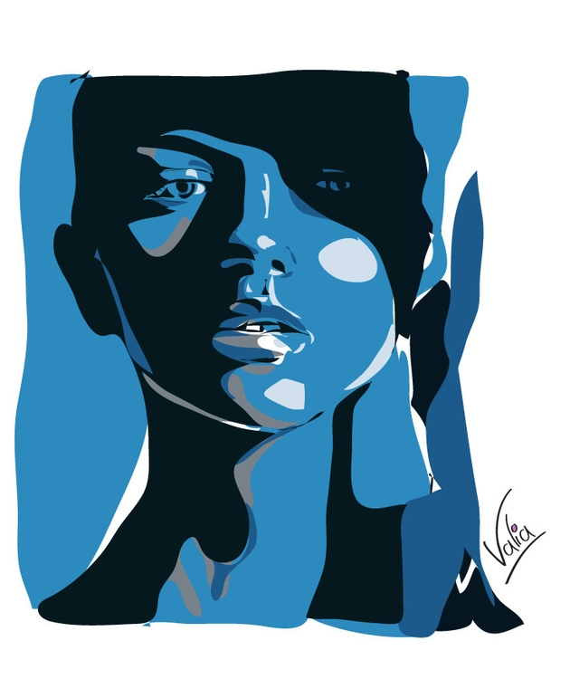 blue woman - illustration, painting - valiaart | ello