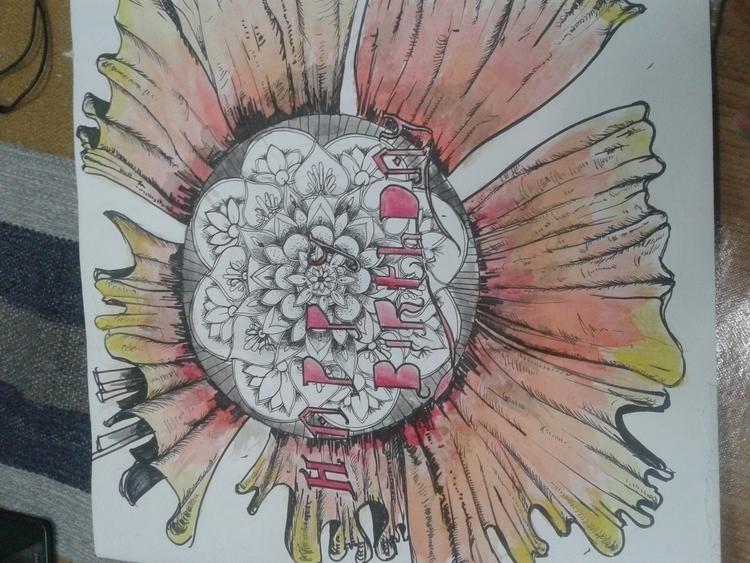 cauliflower - doodle, watercolor - arefasyrf | ello