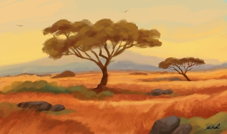 Yellow Sky - painting, digitalpainting - rkamalart | ello