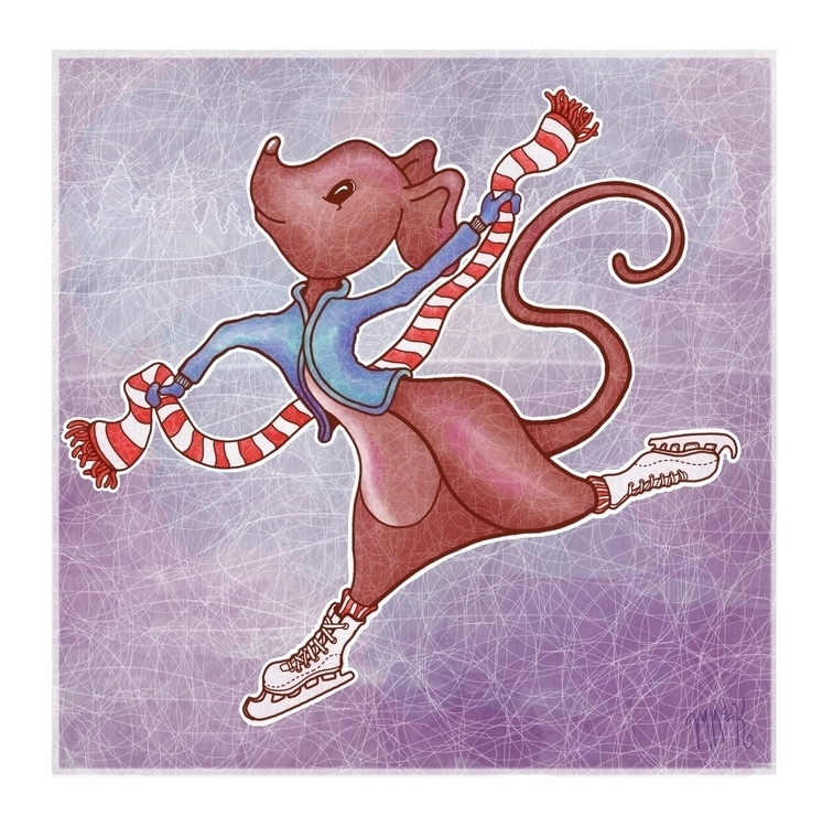 Ice Skating Mouse - illustration - mistymckeithen | ello