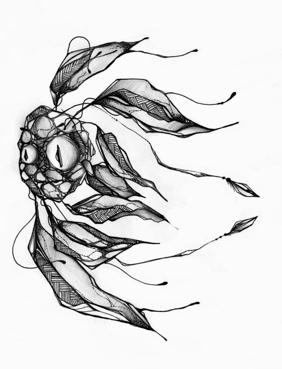 Fish - art, illustration, ink, blackandwhite - m4rinema | ello
