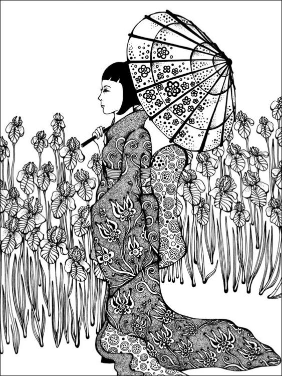 Park - lady, kimono, parasol, flowers - depesha2 | ello