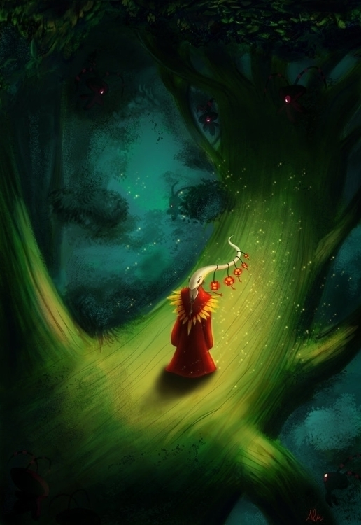 Illum Forest - conceptart, painting - alfredmanzanoart | ello