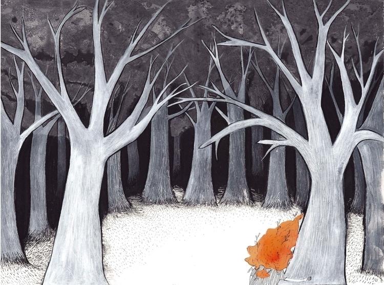 trees shelter - illustration, blossom - marikeleroux | ello