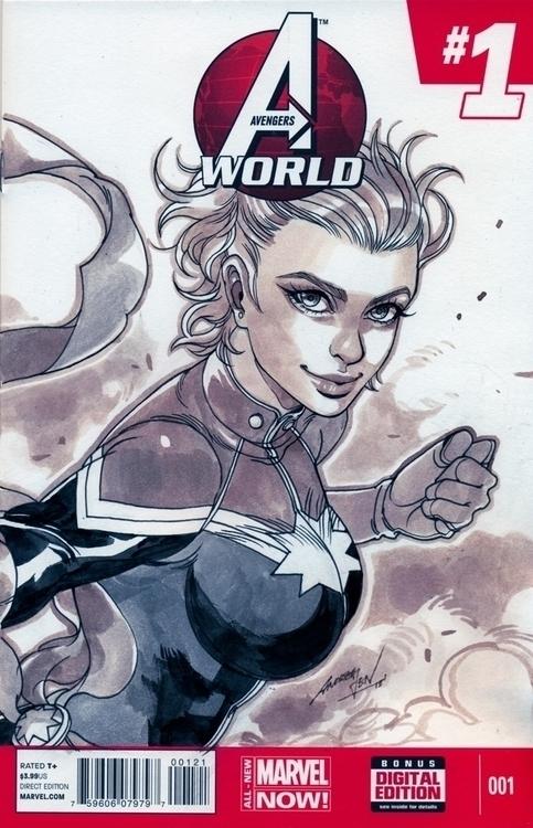Captain Marvel - illustration, marvel - handrewx | ello