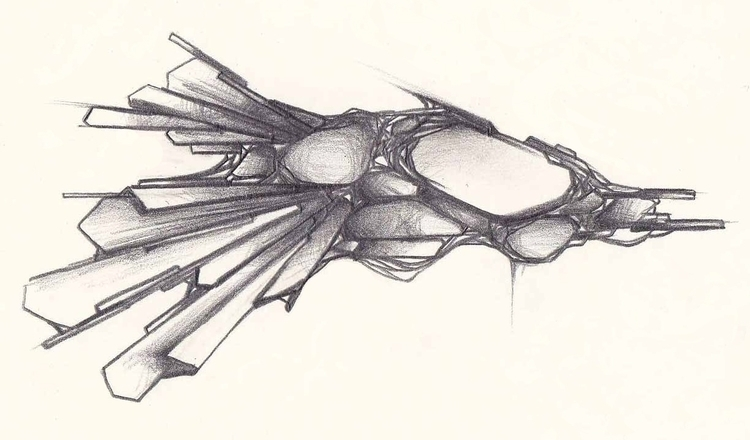 space ship 1 - art, drawing, illustration - m4rinema | ello