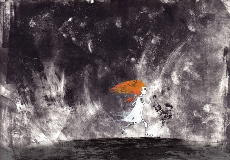 ran woods - illustration, monotype - marikeleroux | ello