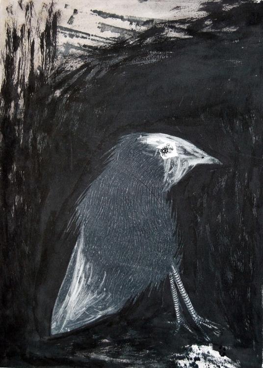 Blackbird - monotype, illustration - marikeleroux | ello