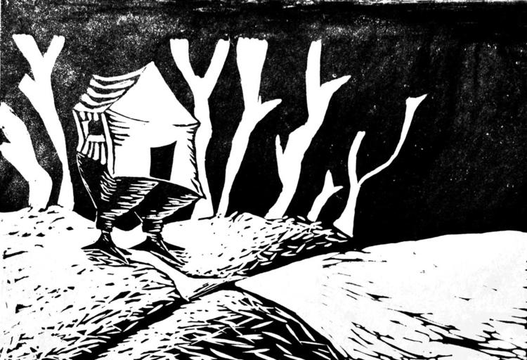 Baba Yaga - illustration, linoprint - marikeleroux | ello