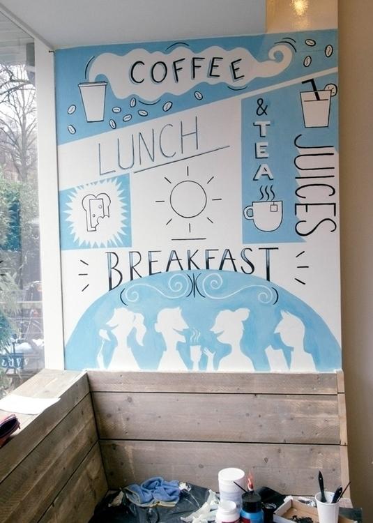 Mural cafe hometown - mural, painting - kellybreemer | ello