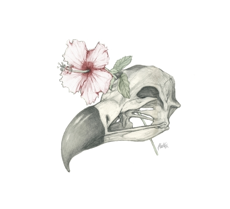 Vulture skull Hibiscus - illustration - madmfia-7504 | ello