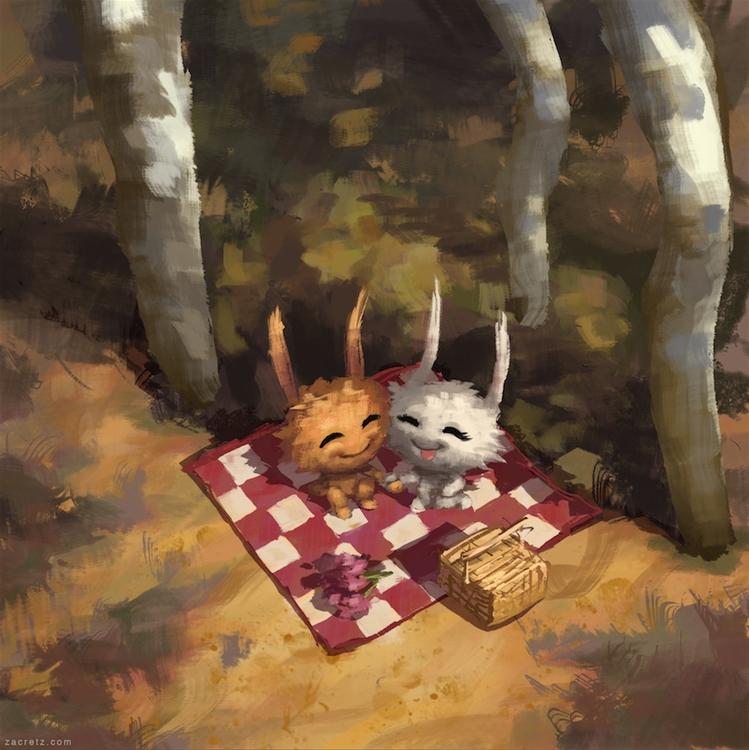 Apaintingeveryday - forest, bunny - zacretz | ello