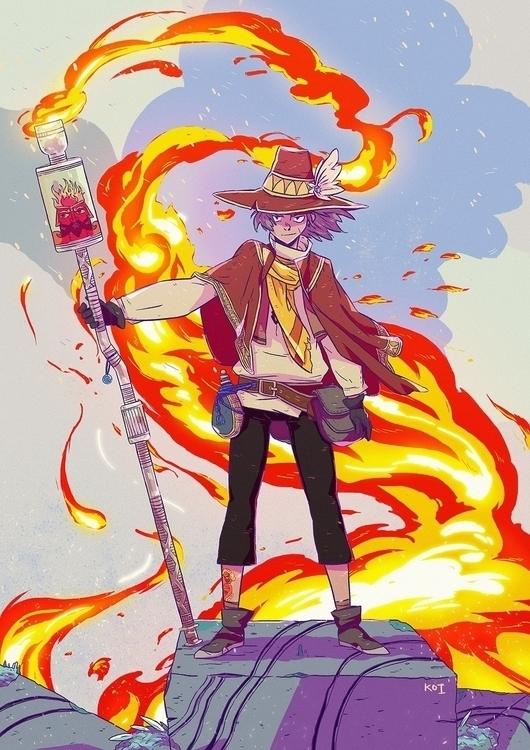 Fire mage - illustration, art - koi-9979 | ello