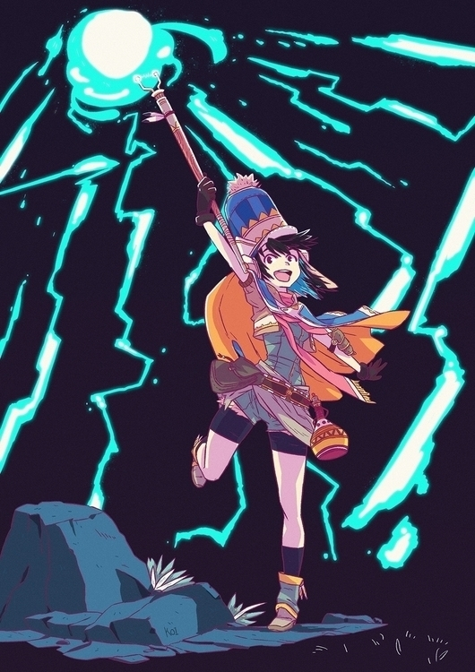 Lightning mage - illustration, art - koi-9979 | ello