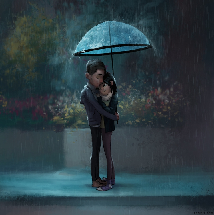 Apaintingeveryday - rain, hug, love - zacretz | ello