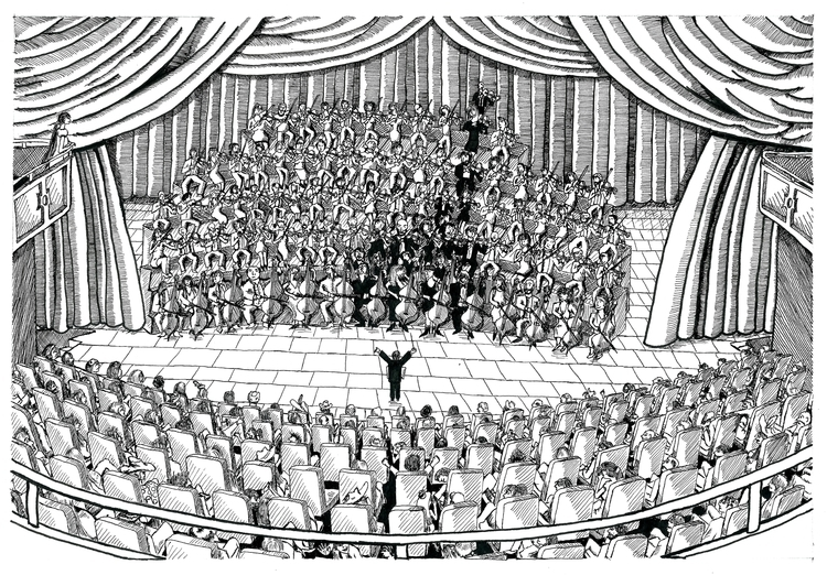 Note Orchestra - illustration, drawing - dejvidknezevic | ello